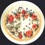piatto porcellana con papaveri e bordo prezioso in