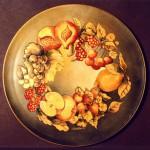 piatto porcellana con acquerello su oro